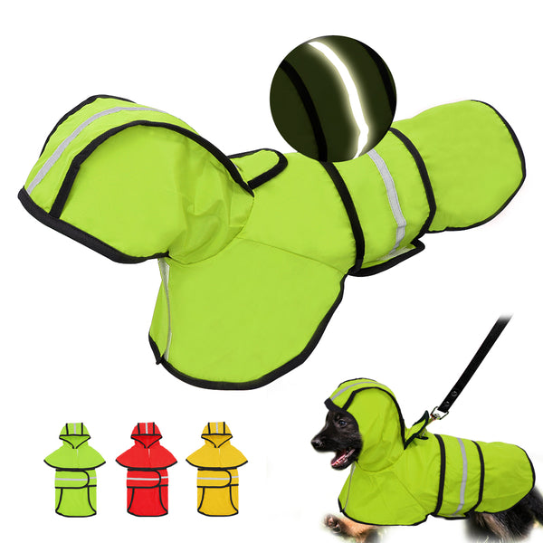 Dog Raincoat Reflective Rain Jacket Waterproof Pet Clothes Safety Rainwear For Pet Small Medium Dogs Puppy Doggy Green Red S-2XL - The most popular products on Tiktok | GOWOW
