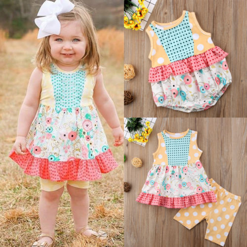 FOCUSNORM New Fashion Kids Toddler Baby Girls Clothes Flower Romper Top Dress Outfits Set Sunsuit - The most popular products on Tiktok | GOWOW