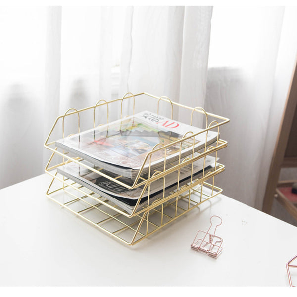 Fashion Creative Ins Gold Metal File Tray Magazine Organizer Desk Set By Handmade Overlayable File Organizer Layering - The most popular products on Tiktok | GOWOW