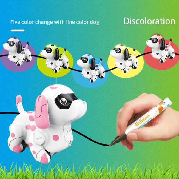 Follow Any Drawn Line Cute Colors Changing Smart Animals Electric Gift Inductive Puppy Model Children Toy Indoor Robotic Dog - The most popular products on Tiktok | GOWOW