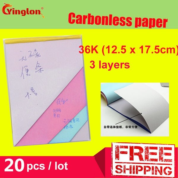Free shipping 5pcs / lot 32K Blank 3 layer Carbonless paper Triple layer handwritten sales note memorandum sheet letter pad - The most popular products on Tiktok | GOWOW