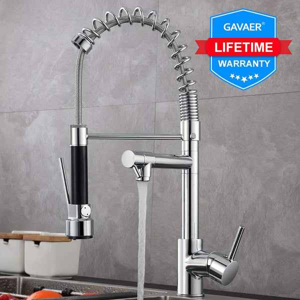 Gavaer Spring Pull Down Kitchen Faucet Nozzle Dual Mode Water Mixer Single Handle Hot Cold 2 Outlet Shower Swivel Kitchen Taps - The most popular products on Tiktok | GOWOW