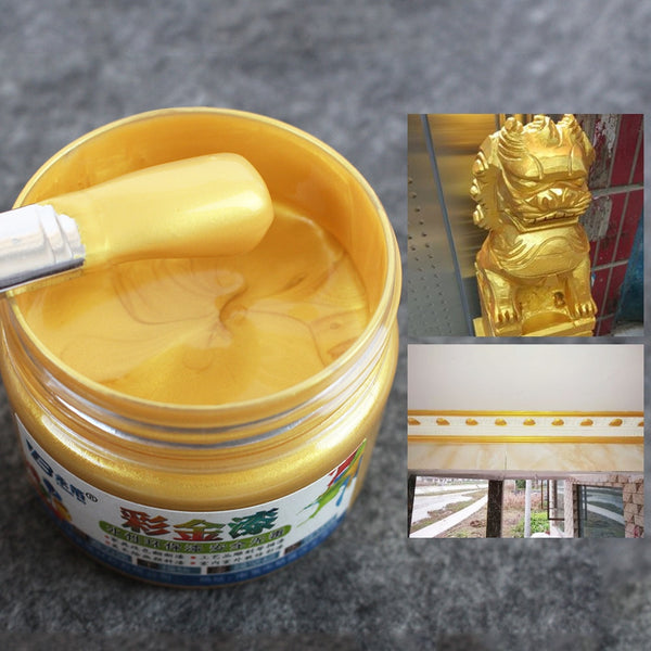 Gold Acrylic Paint Metal Lacquer Wood Varnish Coating Quick-drying&Anti-rust for Crafts Furniture Statuary Coloring 100g - The most popular products on Tiktok | GOWOW