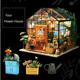 Robotime Miniature Dollhouse DIY Dollhouse with doll house furniture, Light Gift for Children Adults Kathy's Flower House - The most popular products on Tiktok | GOWOW