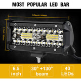 2PCS LED Bar 7 inch LED Light Bar  3 Rows Work Light Combo Beam for Driving Offroad Boat Car Tractor Truck 4x4 SUV 12V 24V - The most popular products on Tiktok | GOWOW