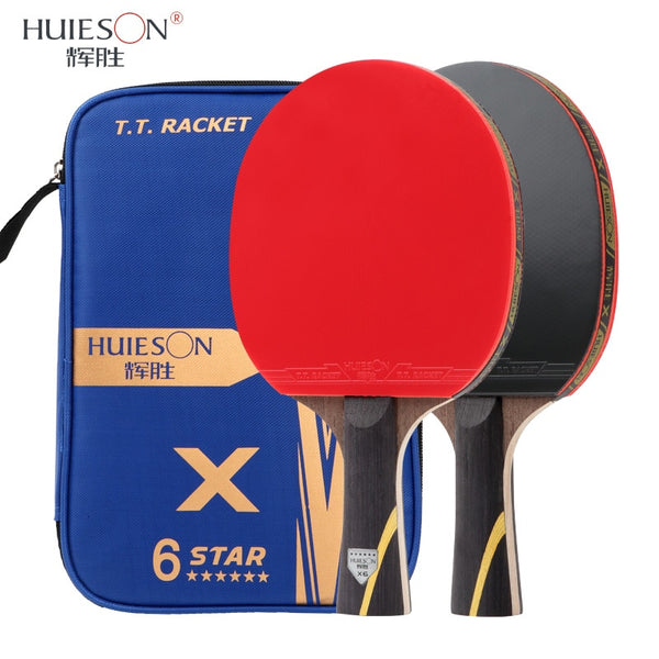 HUIESON 6 Star 2Pcs New Upgraded Carbon Table Tennis Racket Set Super Powerful Ping Pong Racket Bat for Adult Club Training - The most popular products on Tiktok | GOWOW