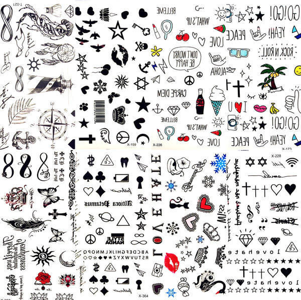 Hot Small Sexy Lips Leaf Black Cartoon Temporary Tattoo Cute Star Tattoo Sticker Love Women Body Finger Art Waterproof Tatoo Kid - The most popular products on Tiktok | GOWOW