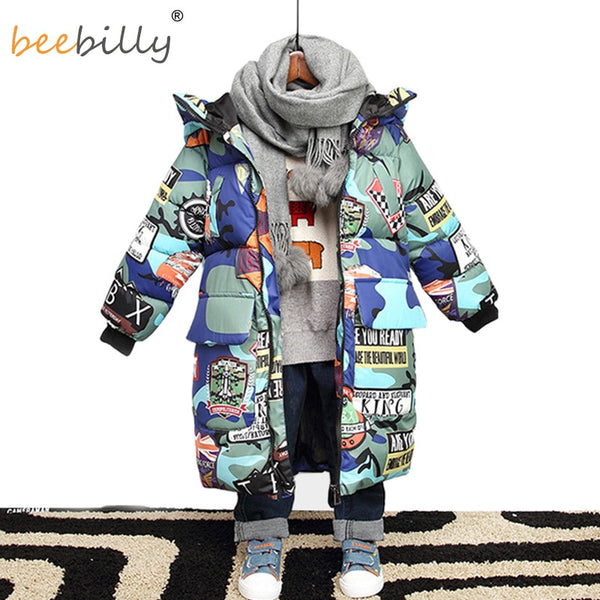 Jacket for Boys 2019 New Brand Hooded Winter Jackets Graffiti Camouflage Parkas For Teenagers Boys Thick Long Coat Kids Clothes - The most popular products on Tiktok | GOWOW