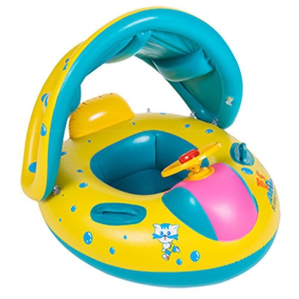 Kids Baby Swimming Rings Safe Inflatable Infant Yacht Swim Pool Toy for Baby Adjustable Sunshade Child Toddler Seat Float Boat - The most popular products on Tiktok | GOWOW