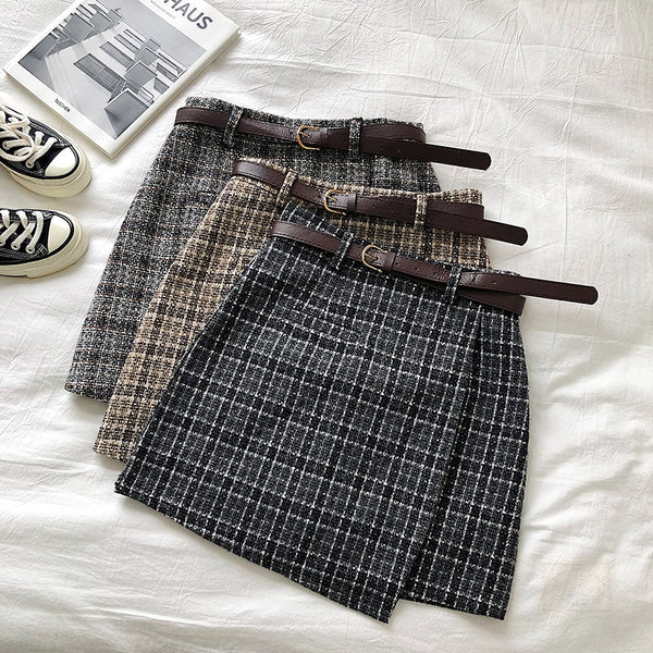 Korean Irregular Lady Skirt Female Autumn Sweet High Waist A-line Mini Skirt Vintage Casual Women Plaid Skirt Chic Sashes - The most popular products on Tiktok | GOWOW