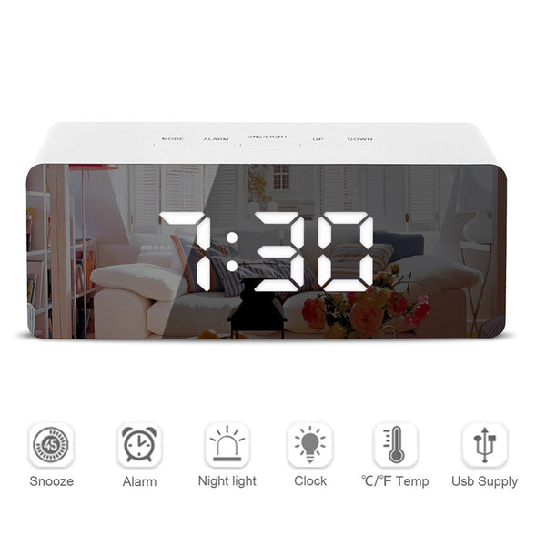 LED Mirror Alarm Clock Digital Snooze Table Clock Wake Up Light Electronic Large Time Temperature Display Home Decoration Clock - The most popular products on Tiktok | GOWOW