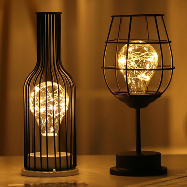 LED Retro Bulb Iron Table Winebottle Copper Wire Night Light Creative Hotel Home Decoration Desk Lamp Night Lamp Battery Powered - The most popular products on Tiktok | GOWOW