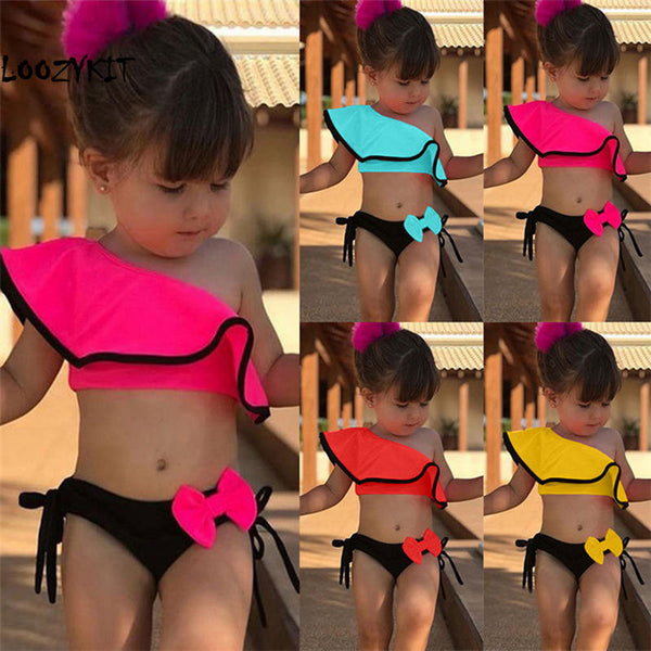 Loozykit 2pcs Kids Baby Girls Off-shoulder Bow Bikini Set Swimwear Swimsuit Bathing Suit Beach Swimming Costume Clothing 2-8Y - The most popular products on Tiktok | GOWOW