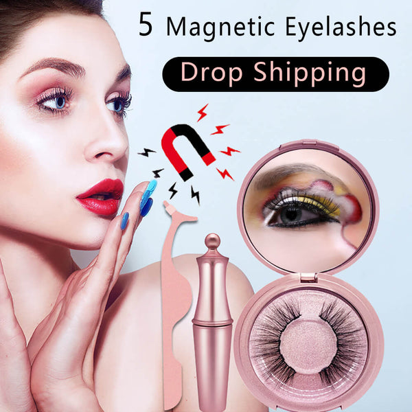 Magnetic Eyelashes Natural Eye Eyeliner Set 5 Magnets Applicator False Mink Liner Curler Extension 3D Fake Full Eyelash Reusable - The most popular products on Tiktok | GOWOW