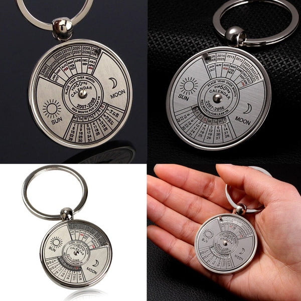 Mini Perpetual Calendar Keychain Unique Metal Keyring Zinc Alloy Sun Moon Carving 2010 to 2060 Calendar Key Ring Creative Gifts - The most popular products on Tiktok | GOWOW