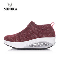 Minika Women Slimming Shoes Fly Wire Air Slip-on Sneakers 2019 New Wedge Height Increasing Female Toning Swing Shoes - The most popular products on Tiktok | GOWOW