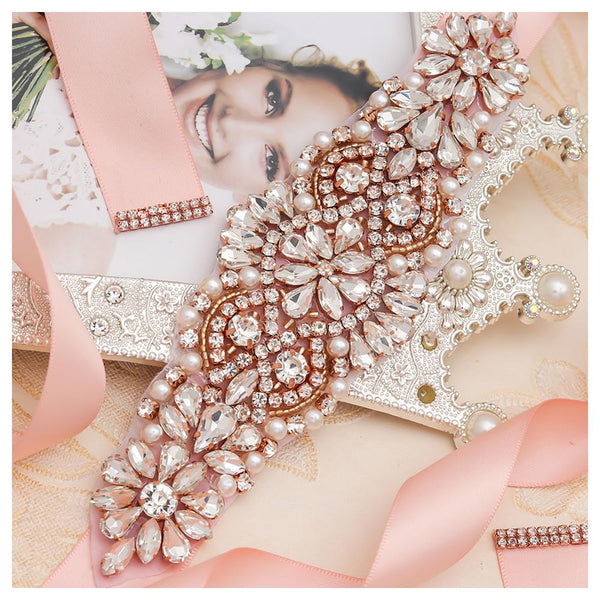 MissRDress Pearls Wedding Belt Dress Rose Gold Crystal Bridal Belt Rhinestones Wedding Sash For Bridal Bridesmaid Dresses JK849 - The most popular products on Tiktok | GOWOW