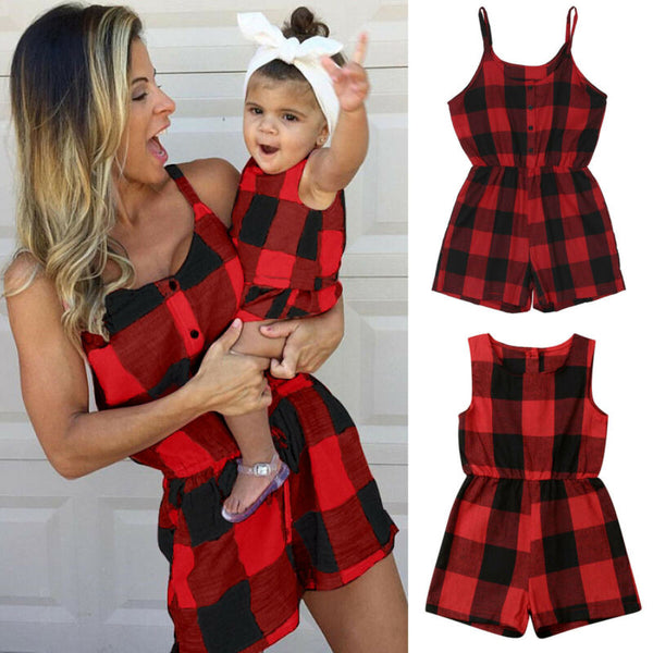 Mother Daughter Family Matching Outfits Clothes Plaid Parent-child Dress Baby Girls Mom Romper Fashion Summer Women Kids Costume - The most popular products on Tiktok | GOWOW