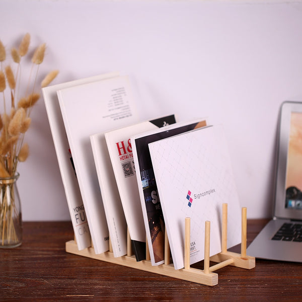 Multi-purpose Wooden Book Magazine Storage Stand Organizer Holder Desk Organizer for Book CD Magazine File - The most popular products on Tiktok | GOWOW