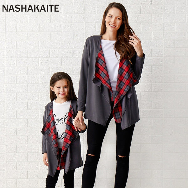 NASHAKAITE Mom Daughter Knitted Plaid Cardigan Fashion Autumn Mommy and me matching Outwear Mother and daughter clothes - The most popular products on Tiktok | GOWOW