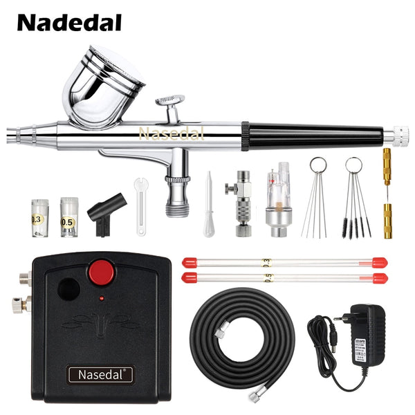 Nasedal NT-19 Dual-Action Spray Gun Airbrush with Compressor 0.3mm Airbrush Kit for Nail Airbrush for Model/Cake/Car Painting - The most popular products on Tiktok | GOWOW