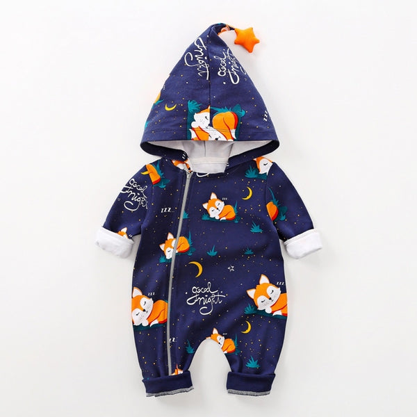 New Winter Newborn Baby Girl Boy Clothes 0-18M Casual Hoodie Infant Long Sleeve Cute Toddler Jumpsuit /Thicken Velvet Bodysuit - The most popular products on Tiktok | GOWOW