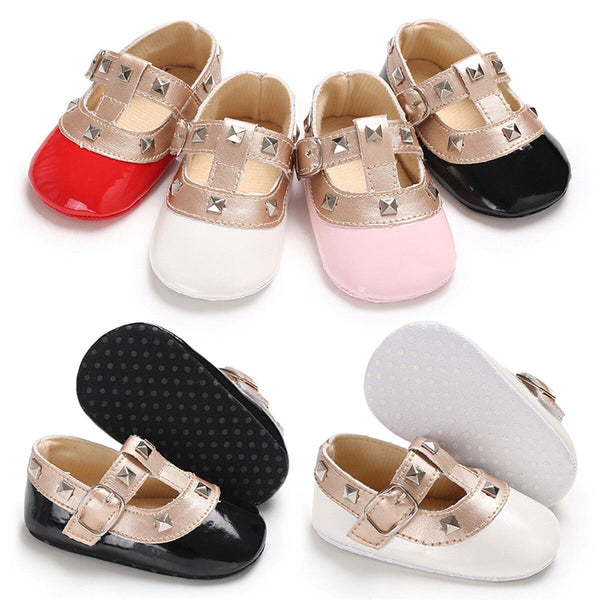 Newborn Baby Girls Bow Princess Shoes Soft Sole Crib Leather Solid Buckle Strap Flat With Heel Baby Shoes 4 Colors - The most popular products on Tiktok | GOWOW