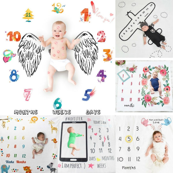 Newborn Baby Monthly Growth Milestone Blanket Infan Photography Props Background Blankets For Baby Boy Girls Carpet Photo Cloth - The most popular products on Tiktok | GOWOW