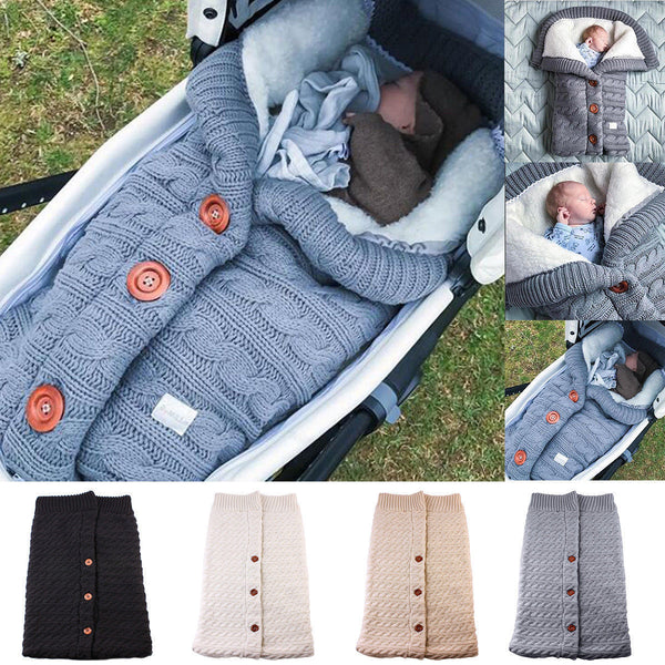 Newborn Baby Winter Warm Sleeping Bags Infant Button Knit Swaddle Wrap Swaddling Stroller Wrap Toddler Blanket Sleeping Bags - The most popular products on Tiktok | GOWOW