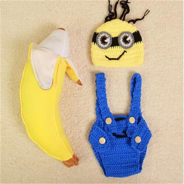 Newborn Hooded Romper Baby Photography Props kids Knit  Crochet Baby Boy Romper Infant Costume Button Baby Clothes Baby Minions - The most popular products on Tiktok | GOWOW