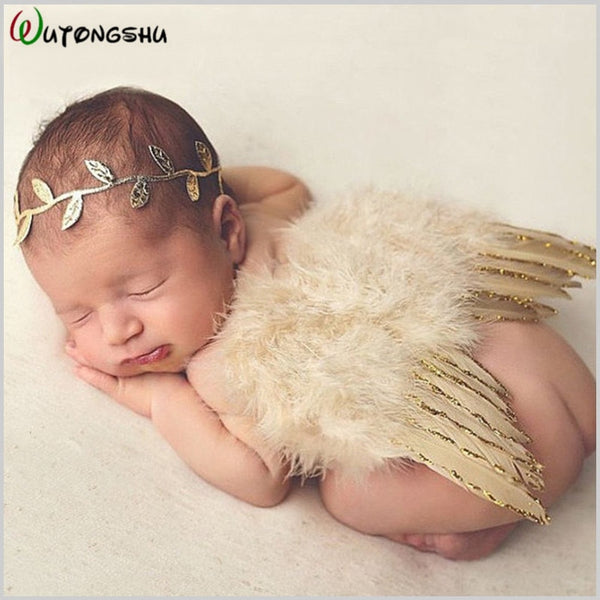 Newborn Photography Props Angel Feathers Wings Baby Costume Clothes With the Leaves Hair Band Photography Accessories For Infant - The most popular products on Tiktok | GOWOW