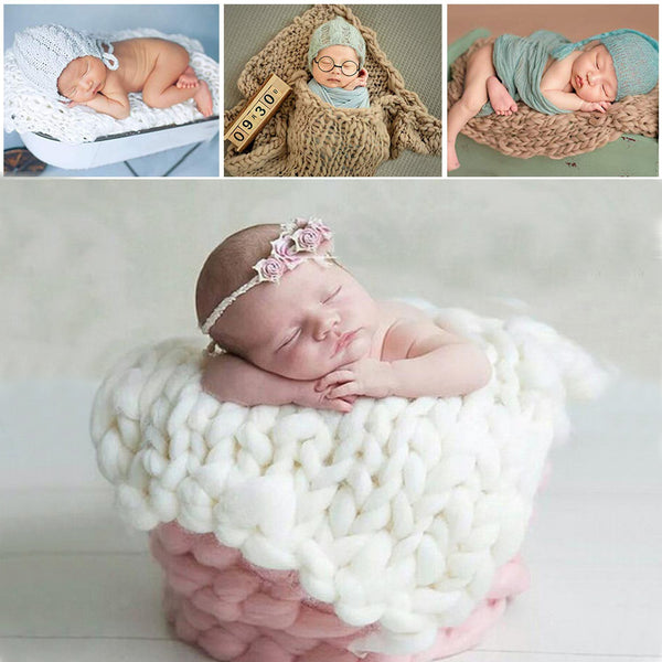 Newborn Photography Props Baby Photography Blanket Handma Woven Square Carpet Baby Photo Props Wool Blankets Accessories - The most popular products on Tiktok | GOWOW