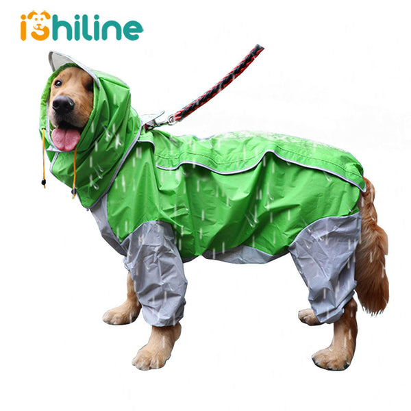 Pet Small Large Dog Raincoat Waterproof Clothes For Big Dogs Jumpsuit Rain Coat Hooded Overalls Cloak Labrador Golden Retriever - The most popular products on Tiktok | GOWOW