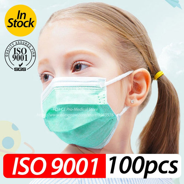 Profession Child Kids Boy Girl Mask 100Pcs/Pack 3-Ply PM2.5 N95 Nonwoven Disposable Breathable Children Face Mask ISO9001-2008 - The most popular products on Tiktok | GOWOW