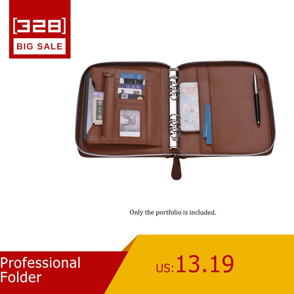 Professional Folder Document Storage PU Leather Padfolio Business Portfolio Holder Organizer with Zippered Closure Card Slot - The most popular products on Tiktok | GOWOW