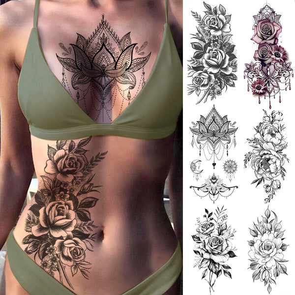 Purple Rose Jewelry Water Transfer Tattoo Stickers Women Body Chest Art Temporary Tattoo Girl Waist Bracelet Flash Tatoos Flower - The most popular products on Tiktok | GOWOW