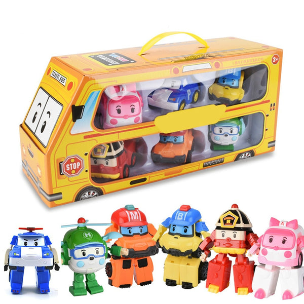 Set of 6 Pcs Poli Car Kids Robot Toy Transform Vehicle Cartoon Anime Action Figure Toys for Children Gift Juguetes - The most popular products on Tiktok | GOWOW