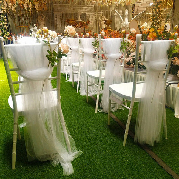 Soft Gauze Cloth Wedding Wedding Aerial Ceiling Decoration Gauze Chair Back Yarn Chair Knot Cover Decoration Mesh Table Skirt - The most popular products on Tiktok | GOWOW