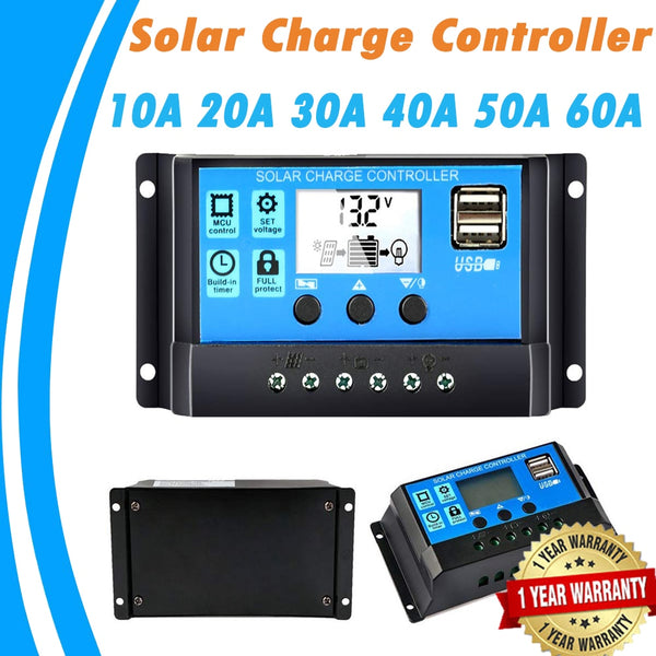 Solar Charger Controller 60A 50A 40A 30A 20A 10A 12V 24V Battery Charger LCD Dual USB Solar Panel Regulator for Max 50V PV Input - The most popular products on Tiktok | GOWOW