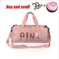 The latest design sequins PINK letter fitness bag dry and wet separation sports bag shoulder Messenger bag couple handbag travel - The most popular products on Tiktok | GOWOW