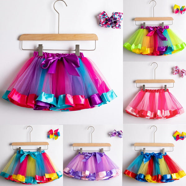 Tutu Skirt Baby Girl Skirts 1 To 8 Years Princess Pettiskirt Party Dance Rainbow Tulle Skirts Girls Clothes Children Clothing - The most popular products on Tiktok | GOWOW