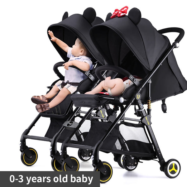 Twin baby strollers ultra light portable can sit and lie detachable folding double pram can be on plane umbrellas - The most popular products on Tiktok | GOWOW