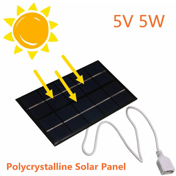 USB Solar Panel Outdoor 5W 5V Portable Solar Charger Pane Climbing Fast Charger Polysilicon Tablet Solar Generator Travel - The most popular products on Tiktok | GOWOW