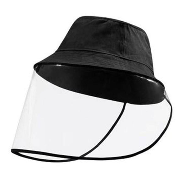 Unisex Protective Face Shield Bucket Hat Transparent Face Cover Block Saliva Droplets Anti-spitting Fisherman Cotton Sun Cap - The most popular products on Tiktok | GOWOW