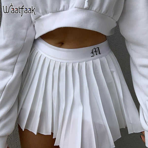 Waatfaak White Pleated Skirt Short Woman Elastic Waist Mini Skirts Sexy Mircro Summer Embroidery Mini Tennis Skirt New Preppy - The most popular products on Tiktok | GOWOW
