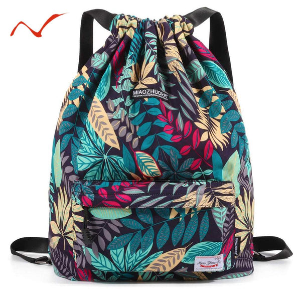 Waterproof Drawstring Backpack Leaf Pattern Sports Bags for Women Men Outdoor Fitness Training Gym Surfing Bag For Shoes Storage - The most popular products on Tiktok | GOWOW