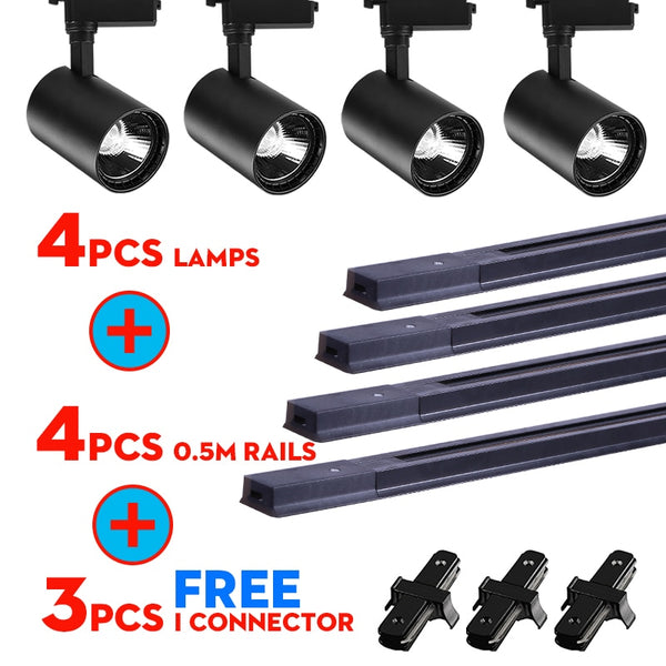 Whole Set Led Track Lights 12/20/30/40W COB Track Lamps for Shop Rail Aluminum Spotlights for Clothing Store Track Lighting - The most popular products on Tiktok | GOWOW