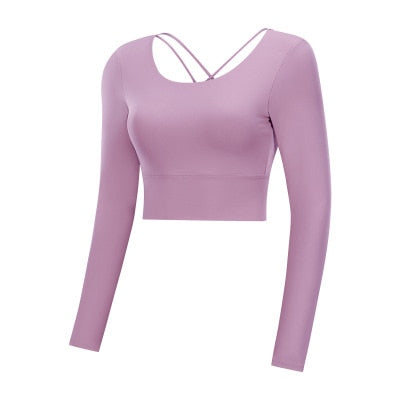 X-HERR Women Back Straps Gym Yoga Crop Tops Yoga Shirts Long Sleeve Training Top Fitness Running Sport T-Shirts - The most popular products on Tiktok | GOWOW