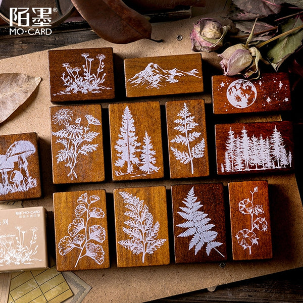 XINAHER Vintage Forest Plants moon decoration stamp wooden rubber stamps for scrapbooking stationery DIY craft standard stamp - The most popular products on Tiktok | GOWOW