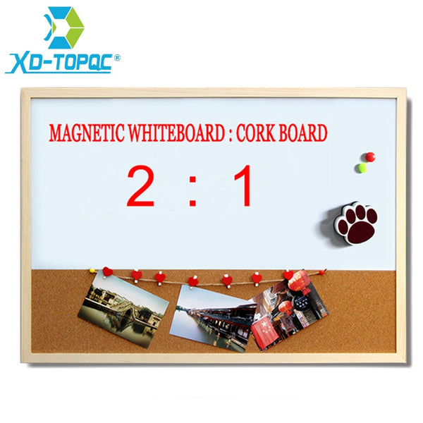 XINDI 30*40cm Combination Whiteboard Cork Board Combination Wood Frame Magnetic Whiteboard With Free Marker Pens Free Shipping - The most popular products on Tiktok | GOWOW